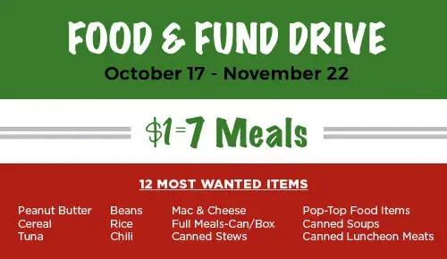 Food and Fun Drive | October 17 - November 22 | $1=7 Meals